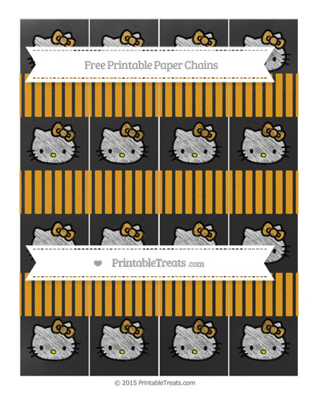 Free Marigold Thin Striped Pattern Chalk Style Hello Kitty Paper Chains