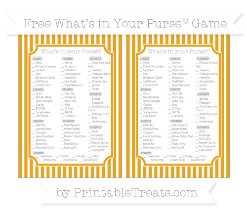Free Marigold Thin Striped Pattern What's in Your Purse Baby Shower Game