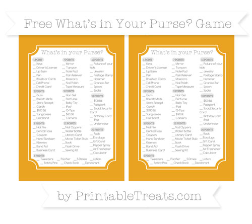 Free Marigold What's in Your Purse Baby Shower Game