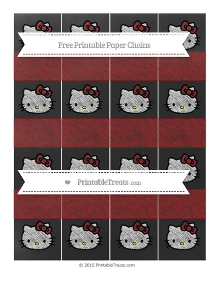 Free Maroon Chalk Style Hello Kitty Paper Chains