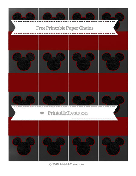 Free Maroon Chalk Style Mickey Mouse Paper Chains
