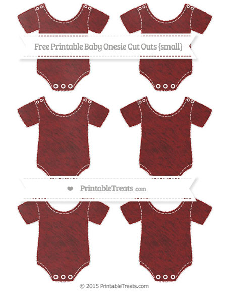 Free Maroon Chalk Style Small Baby Onesie Cut Outs
