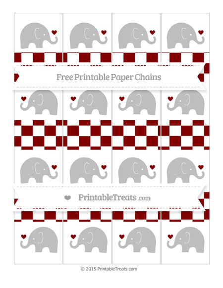 Free Maroon Checker Pattern Baby Elephant Paper Chains