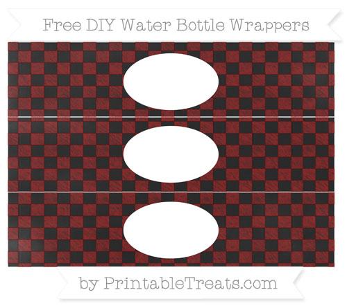 Free Maroon Checker Pattern Chalk Style DIY Water Bottle Wrappers