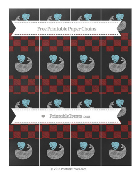 Free Maroon Checker Pattern Chalk Style Whale Paper Chains