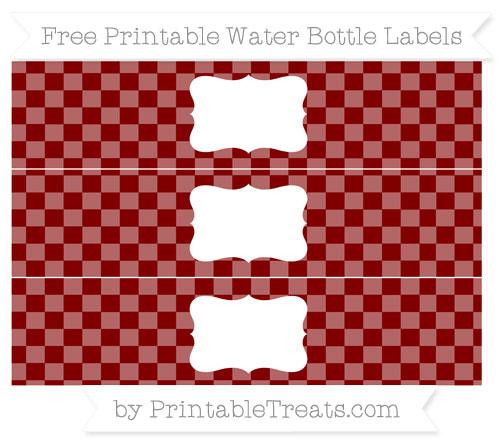 Free Maroon Checker Pattern Water Bottle Labels