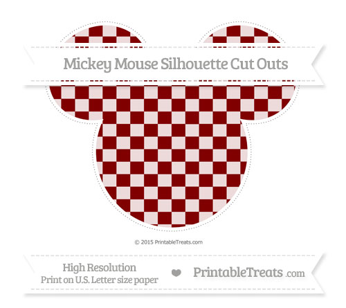 Free Maroon Checker Pattern Extra Large Mickey Mouse Silhouette Cut Outs
