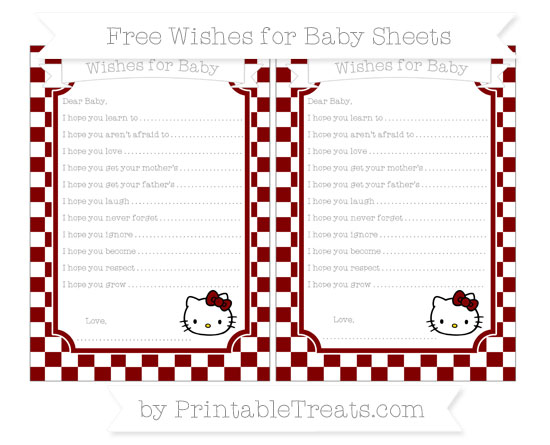 Free Maroon Checker Pattern Hello Kitty Wishes for Baby Sheets