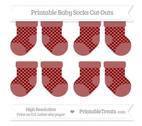 Free Maroon Checker Pattern Small Baby Socks Cut Outs
