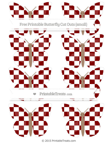 Free Maroon Checker Pattern Small Butterfly Cut Outs