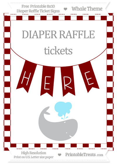 Free Maroon Checker Pattern Whale 8x10 Diaper Raffle Ticket Sign