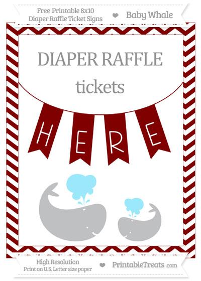 Free Maroon Chevron Baby Whale 8x10 Diaper Raffle Ticket Sign