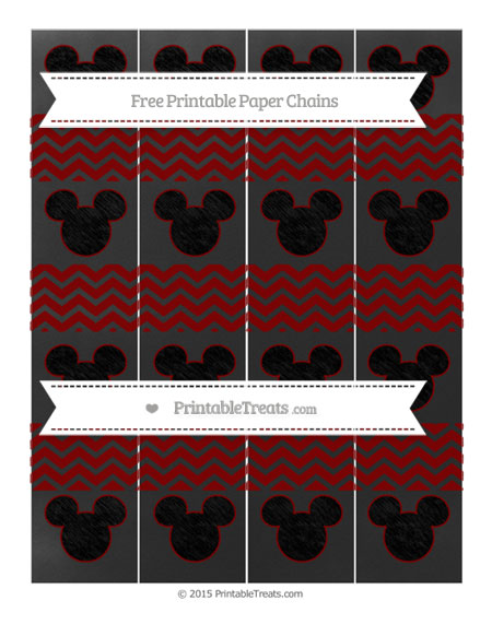 Free Maroon Chevron Chalk Style Mickey Mouse Paper Chains