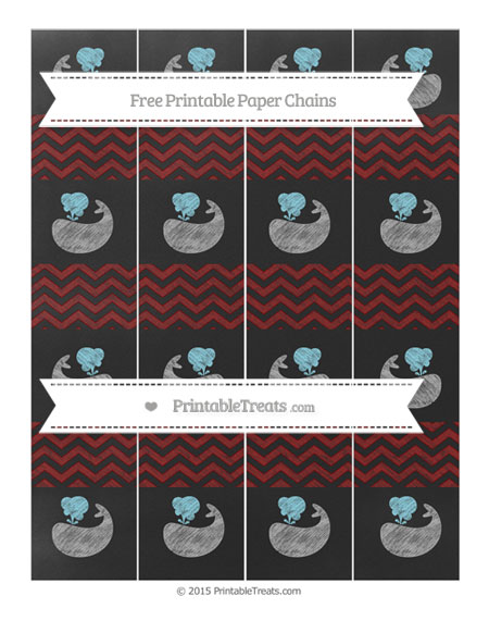 Free Maroon Chevron Chalk Style Whale Paper Chains