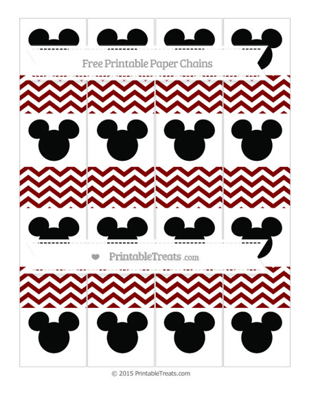 Free Maroon Chevron Mickey Mouse Paper Chains