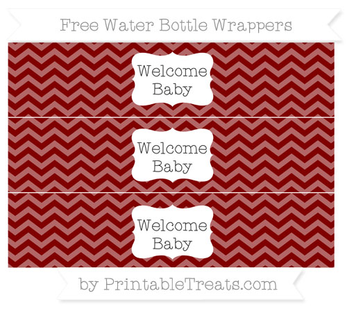 Free Maroon Chevron Welcome Baby Water Bottle Wrappers
