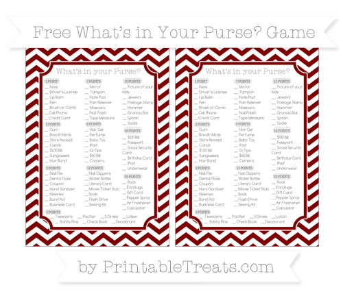 Free Maroon Chevron What's in Your Purse Baby Shower Game