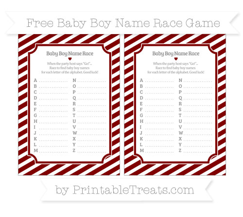 Free Maroon Diagonal Striped Baby Boy Name Race Game