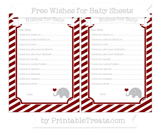 Free Maroon Diagonal Striped Baby Elephant Wishes for Baby Sheets