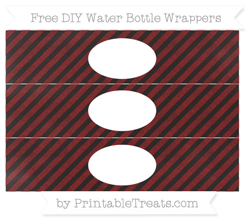 Free Maroon Diagonal Striped Chalk Style DIY Water Bottle Wrappers