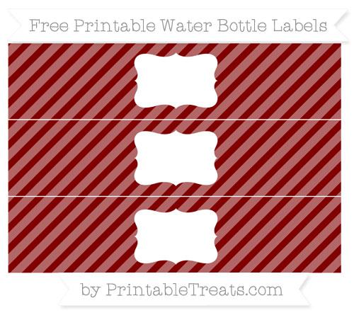 Free Maroon Diagonal Striped Water Bottle Labels