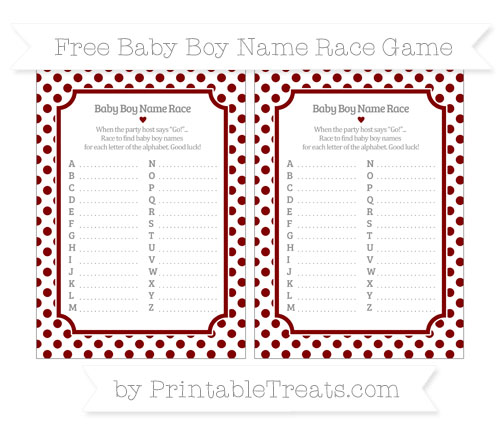 Free Maroon Dotted Pattern Baby Boy Name Race Game