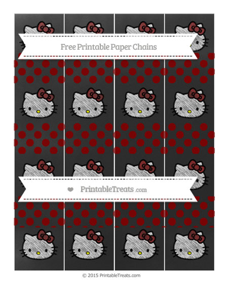 Free Maroon Dotted Pattern Chalk Style Hello Kitty Paper Chains