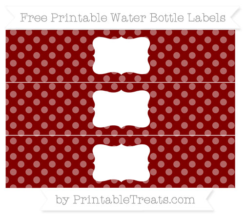 Free Maroon Dotted Pattern Water Bottle Labels