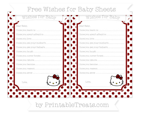 Free Maroon Dotted Pattern Hello Kitty Wishes for Baby Sheets