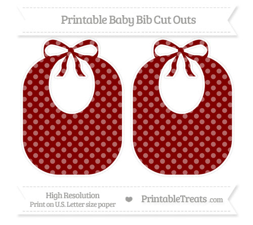 Free Maroon Dotted Pattern Large Baby Bib Cut Outs