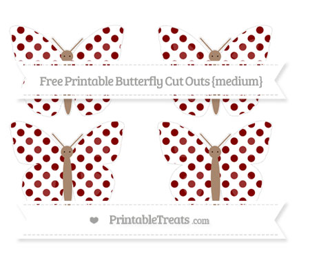 Free Maroon Dotted Pattern Medium Butterfly Cut Outs