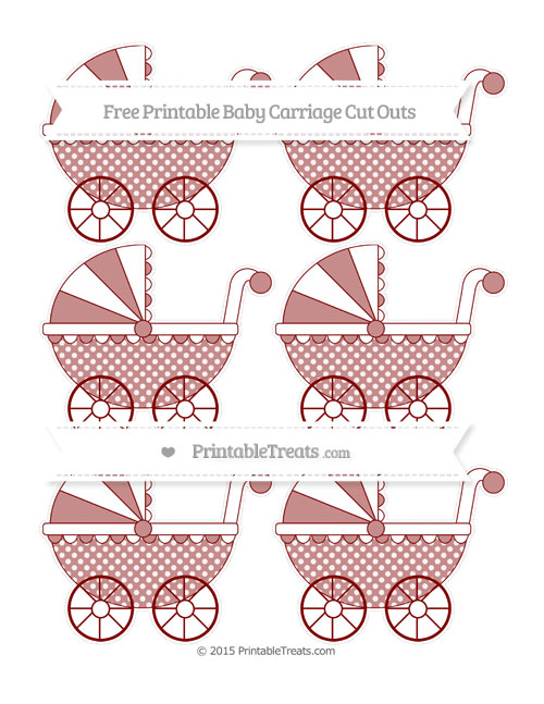 Free Maroon Dotted Pattern Small Baby Carriage Cut Outs