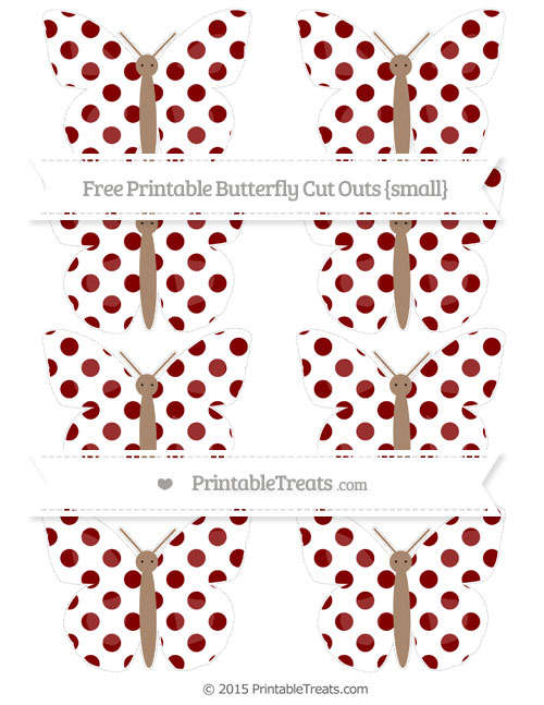 Free Maroon Dotted Pattern Small Butterfly Cut Outs