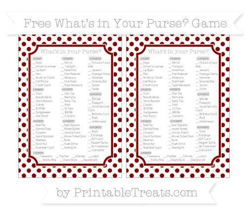 Free Maroon Dotted Pattern What's in Your Purse Baby Shower Game