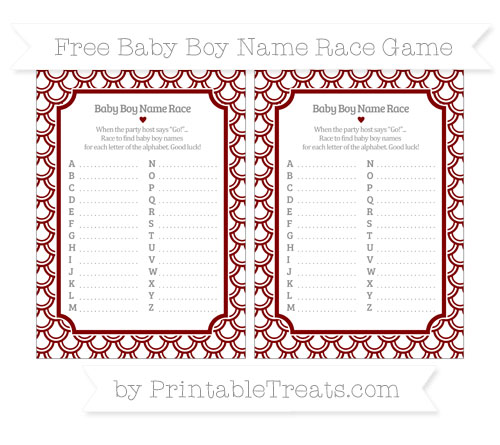 Free Maroon Fish Scale Pattern Baby Boy Name Race Game