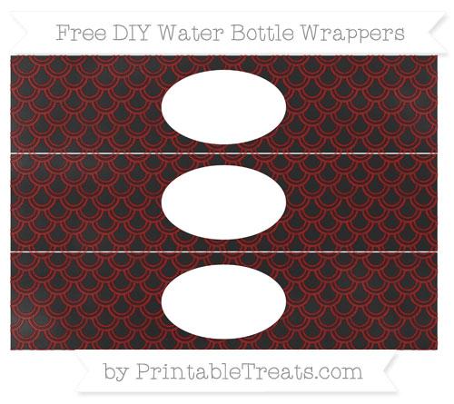 Free Maroon Fish Scale Pattern Chalk Style DIY Water Bottle Wrappers