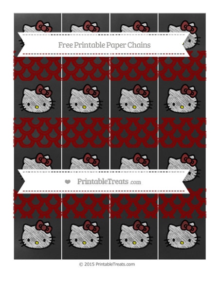 Free Maroon Fish Scale Pattern Chalk Style Hello Kitty Paper Chains