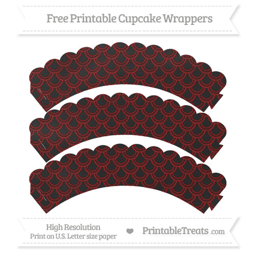 Free Maroon Fish Scale Pattern Chalk Style Scalloped Cupcake Wrappers