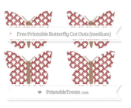 Free Maroon Fish Scale Pattern Medium Butterfly Cut Outs