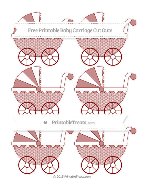Free Maroon Fish Scale Pattern Small Baby Carriage Cut Outs
