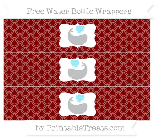Free Maroon Fish Scale Pattern Whale Water Bottle Wrappers