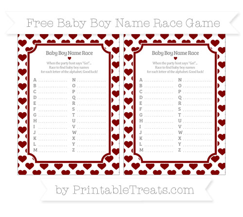 Free Maroon Heart Pattern Baby Boy Name Race Game