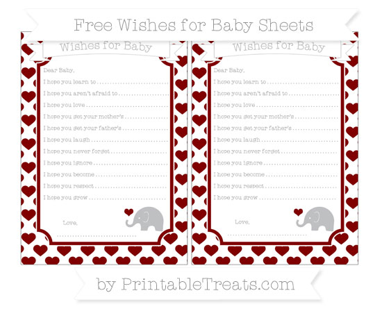 Free Maroon Heart Pattern Baby Elephant Wishes for Baby Sheets