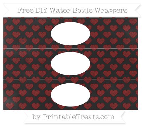 Free Maroon Heart Pattern Chalk Style DIY Water Bottle Wrappers