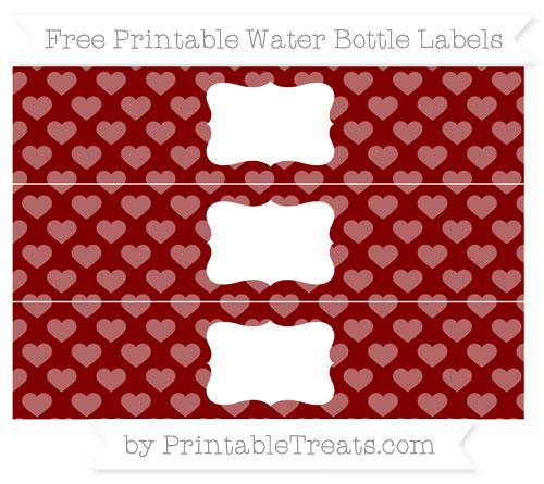 Free Maroon Heart Pattern Water Bottle Labels
