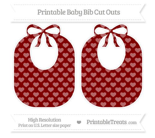 Free Maroon Heart Pattern Large Baby Bib Cut Outs