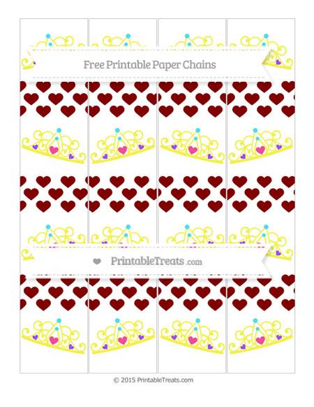 Free Maroon Heart Pattern Princess Tiara Paper Chains
