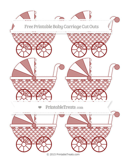 Free Maroon Heart Pattern Small Baby Carriage Cut Outs