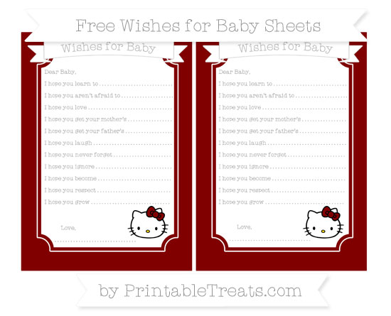 Free Maroon Hello Kitty Wishes for Baby Sheets