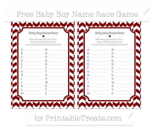 Free Maroon Herringbone Pattern Baby Boy Name Race Game